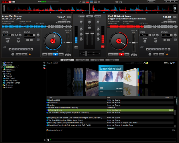 Screenshot of Virtual DJ v.7.4 Cracked Multimedia PC Software Free Download at Alldownloads4u.Com