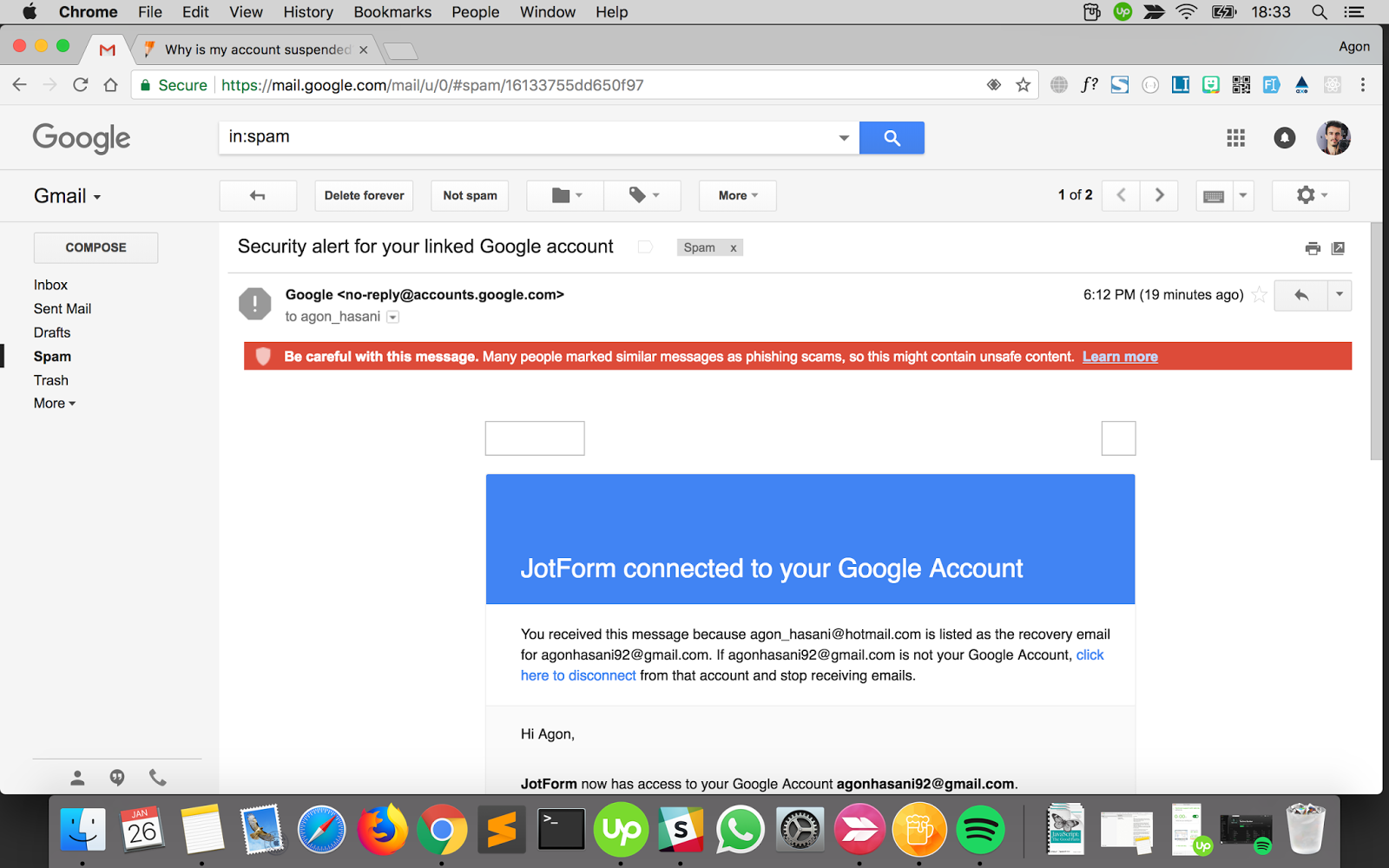no-r   @accounts google com email is marked as spam - Gmail Help