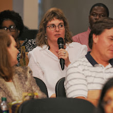 Beki Grinter asks a question during Q & A at the Cecil B. Day Inaugural Event