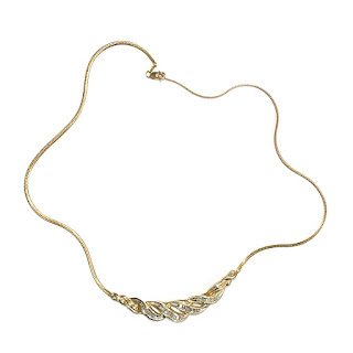 10K Gold & Clear Stone Necklace