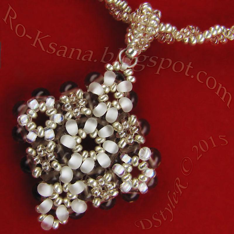 """Silvery Snowdrops"" beads pendant   RAW & 2-beads Tubular Twisted rope Расшитый кулон ""в крестик"" и спиральный жгут ндебеле на 2 бисерины"