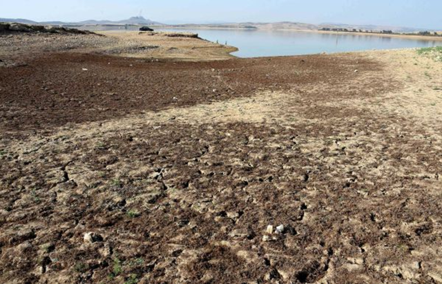 This photo taken on 21 August 2016, shows The Sidi Salem dam near Testour, in Tunisia's northwest Beja region, which has particularly low water levels due to a 30 percent drop in rainfall in the North African country this year. Photo: FFethi Belaid / AFP / Getty Images
