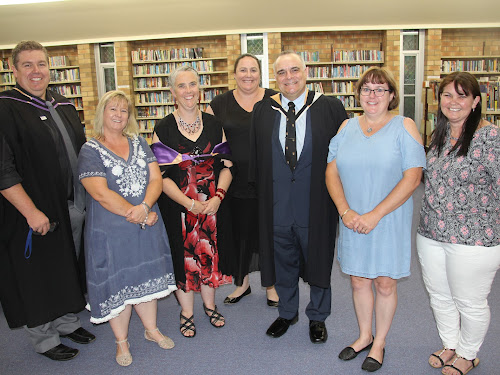 BEFORE THE BIG EVENT: Narrabri High School deputy principal Brad Graham, P and C member Kylee Forbes, deputy principal Rozina Broderick, P and C president Amanda Wales, relieving principal Dinos Charalambous, and P and C members Jennifer Grant and Cheryl Hennessy ahead of the school's presentation function last night.