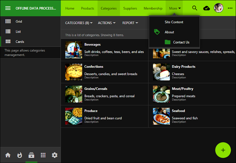 Dark theme with Verdant accent in the app created with Code On Time.  The sidebar is expanded.