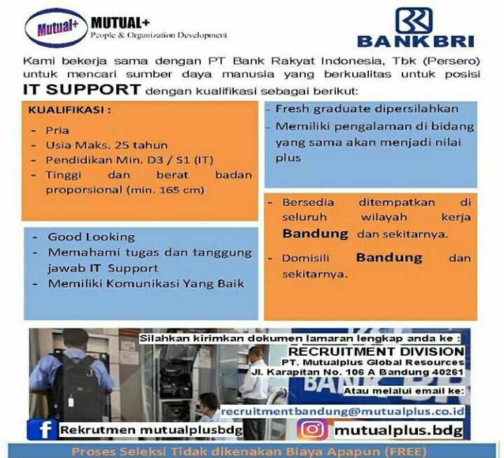 Lowongan Kerja It Support Bank Bri Bandung Info Loker Sumedang