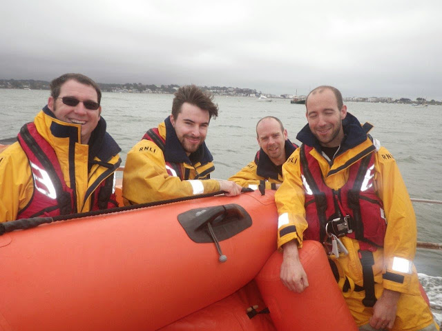 Graham, Chris, Steve and Dave looking forward to testing their rowing skills on Boat Race day (especially Dave!). 6 April 2014 Photo: RNLI Poole/Anne Millman