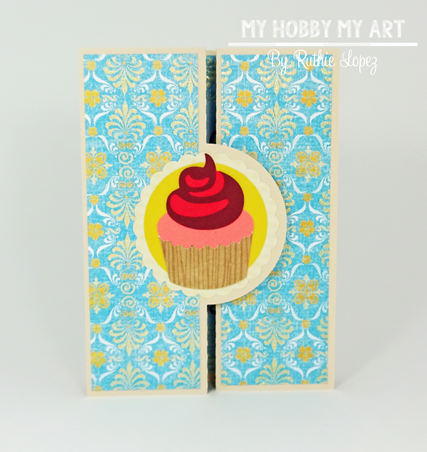 Cupcake Scallop Double Bi Fold card, SnaoDRagon Snippets, Ruthie Lopez, Hilda's Birthday , Blog Hop, Birthday Card