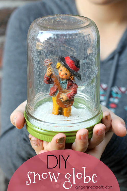 DIY Snow Globe at GingerSnapCrafts.com #snow #kidscrafts