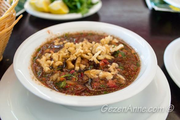 Aşina restoran'da yediğimiz gavurdağı salatası, Gaziantep
