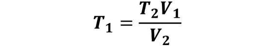 Las leyes de los gases: de boyle, de Charles, de Gay Lussac, de Avogadro y de Dalton - Despeje de la ley de Charles cuando se conoce T2, V1 y V2 - sdce.es - sitio de consulta escolar