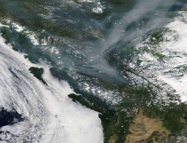 Smoke from forest fires in Siberia descends on British Columbia, 25 July 2018. Photo: NASA Worldview