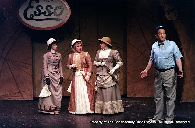 Eileen McCashion, Christine Boice Saplin, Rita Russell and Colin McCarty in ON THE VERGE - January/February 2000.  Property of The Schenectady Civic Players Theater Archive.