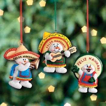 Feliz Navidad Snowman Christmas Ornaments