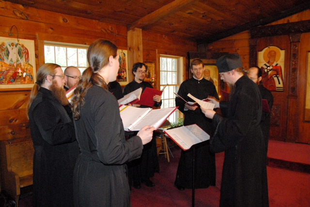 The choir sings during the veneration of the cross.