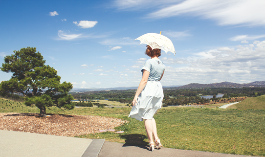 A blue and white striped 1950's summer look | Lavender & Twill
