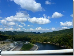 Driving over the dam, Caney Fork River