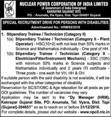 NPCIL Kakrapar Gujarat Site Jobs 2017