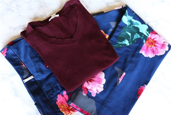Floral Pants and Dark Red Sweater