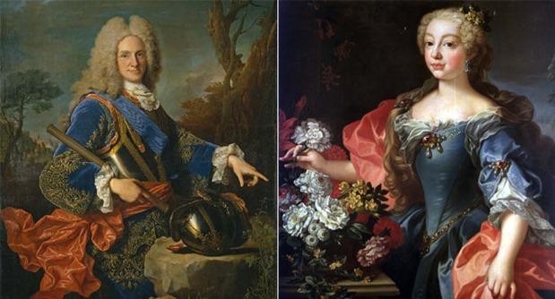 El rey Felipe V de España (1683-1746) y la segunda esposa de éste, Isabel de Farnesio (1692-1766), padres de María Antonia Fernanda de Borbón