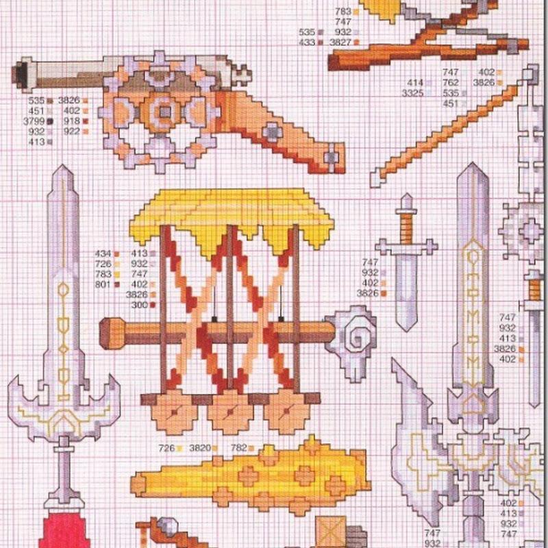 patrones de armadura y armas de fuego punto cruz