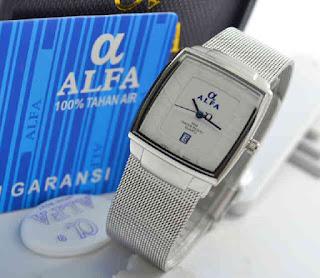 jam tangan Alfa 88071L date 4lady silver sand