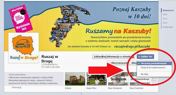 Ruszaj w Drogę na Facebooku - Otrzymuj powiadomienia