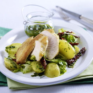 Pan Seared Chicken Breasts with Three Herb Pesto Potato Salad.