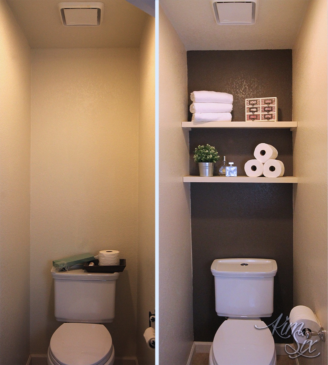 Water Closet with Dark Accent Wall Before and After