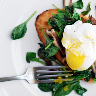 Poached Duck Eggs Over Garlic Toasted & Wilted Tatsoi with Shiitake