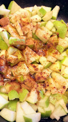 Chop apples (peeling is optional depending on the apple you use) and cook in butter with a bit of cinnamon and whisky for this Apple Cranachan Recipe