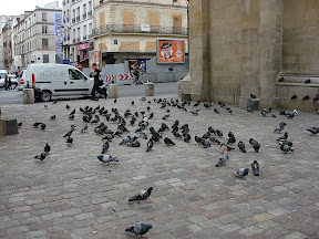 "Jonathan shared a story of how this plaza near the Porte St-Denis was filled with ten times this many pigeons one day when he was here in May 2007.  He and two of his classmates were walking here, when one of them stomped on the ground.  The flock of pigeons engulfed them, reminiscent of ""The Birds""."