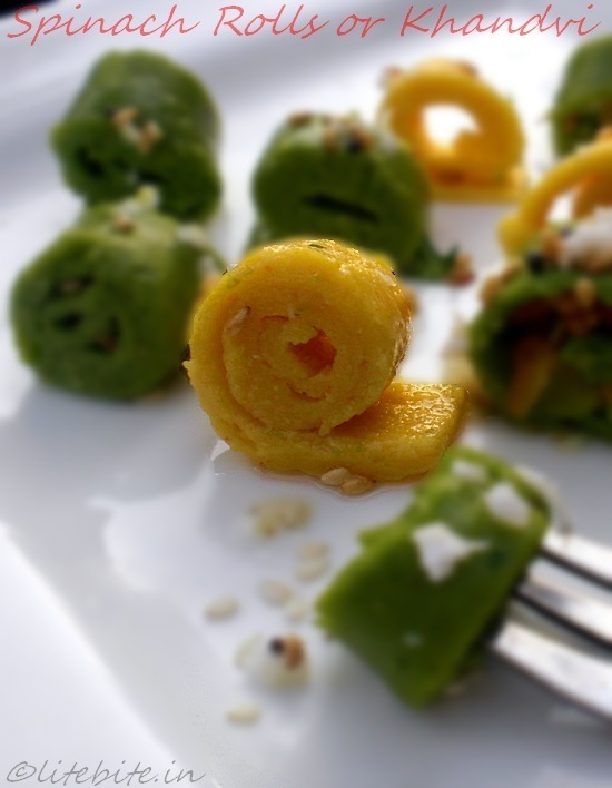 Spinach Khandvi or A healthy chickpea flour snack