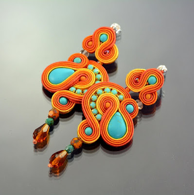 Orange Dangle Soutache Earrings by Ozdoby Ziemi