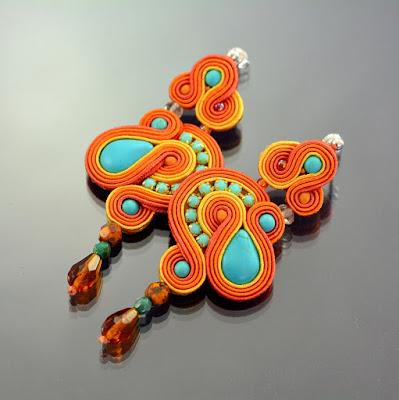 Orange Dangle Soutache Earrings by Ozdoby Ziemi