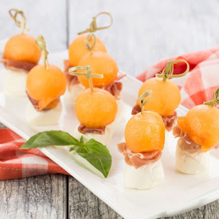 Prosciutto and Melon Skewers.