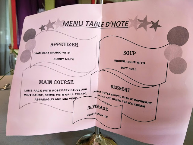 TABLE D'HOTE MENU HARI INI
