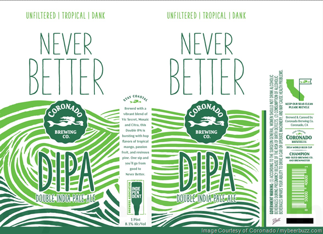 Coronado Brewing Never Better DIPA Coming To 16oz Cans