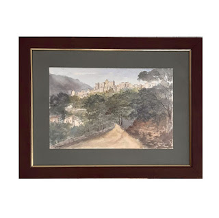 Signed Antique Watercolor Roquebrune Landscape Painting