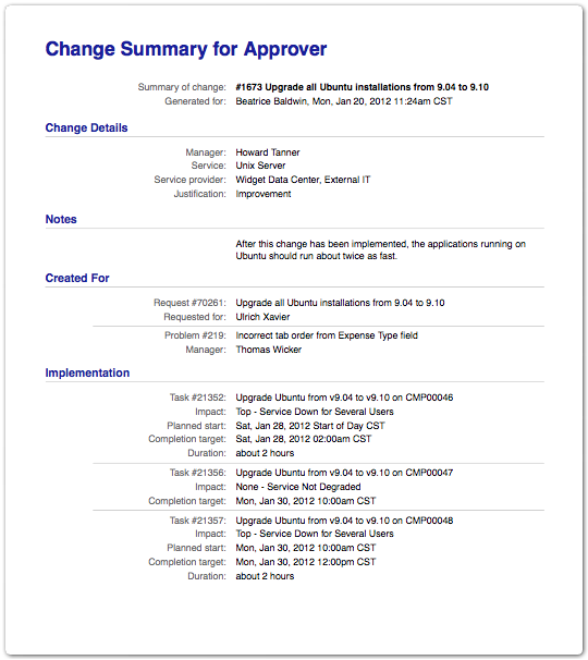Change Summary for Approver