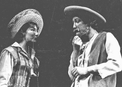 Double cast in As You Like It, here I am as the shepherd Corin with Glynis Bell as Rosalind in drag. Meadowbrook Theater, 1969