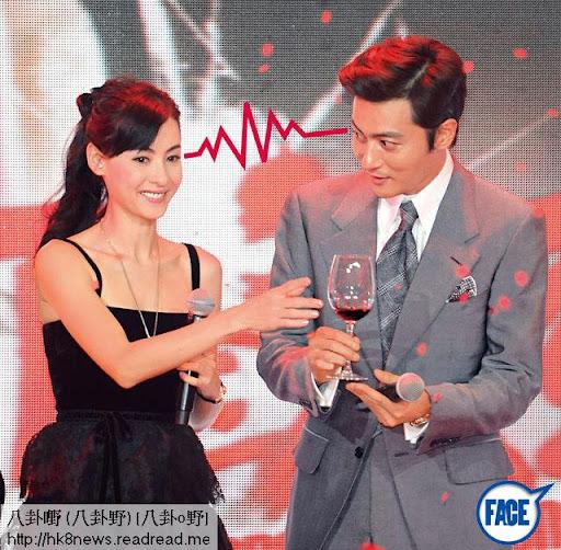 張東健在《危險關係》中,分別同張栢芝及章子怡有感情戲,但明顯同栢芝 啱傾好多,早前在上海宣傳時,更在台上 冧望對方。