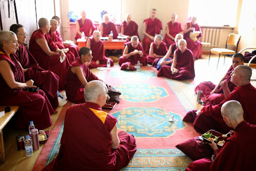 Western Sangha during lunch break, 100 Million Mani Retreat, Ulaanbaatar, Mongolia, August 26, 2013. Photo by Ven. Thubten Kunsang.