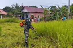 Kodam VI/Mlw, Pembuatan Posko Desa Sigab Covid-19, Babinsa Koramil Muara Badak Bersama Warga Gotong Royong Melaksanakan Pembersihan