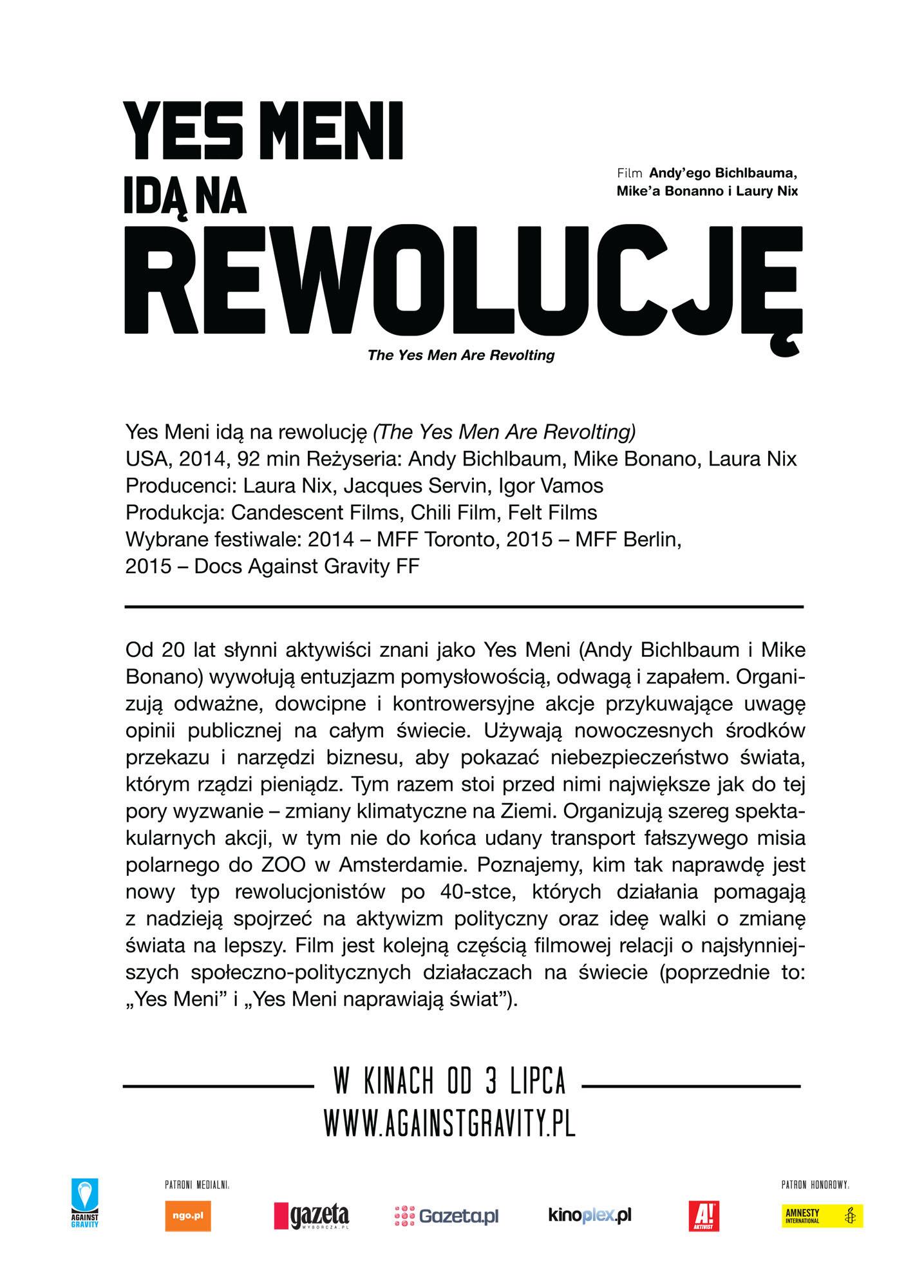Ulotka filmu 'Yes Meni Idą Na Rewolucję (tył)'