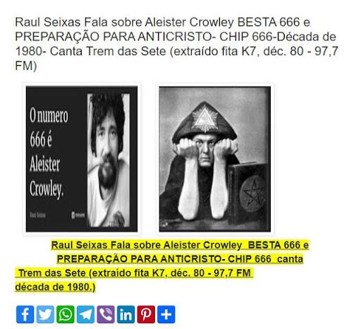 RAUL SEIXAS ALEISTER CROWLEY E O ANTI-CRISTO CHIP 666 Musicas Subliminais OCULTAS