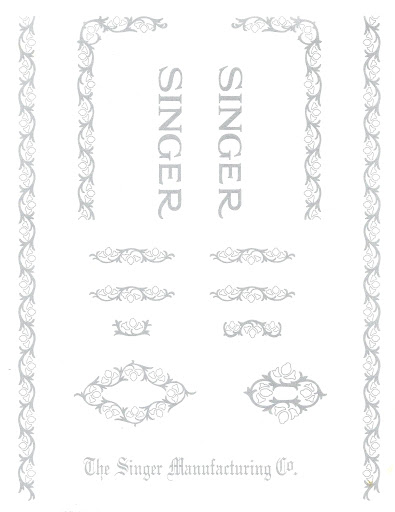 Singer 66 Filigree Decals Silver