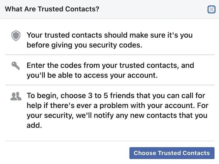 استعادة كلمة مرور حساب Facebook جهات الاتصال الموثوقة