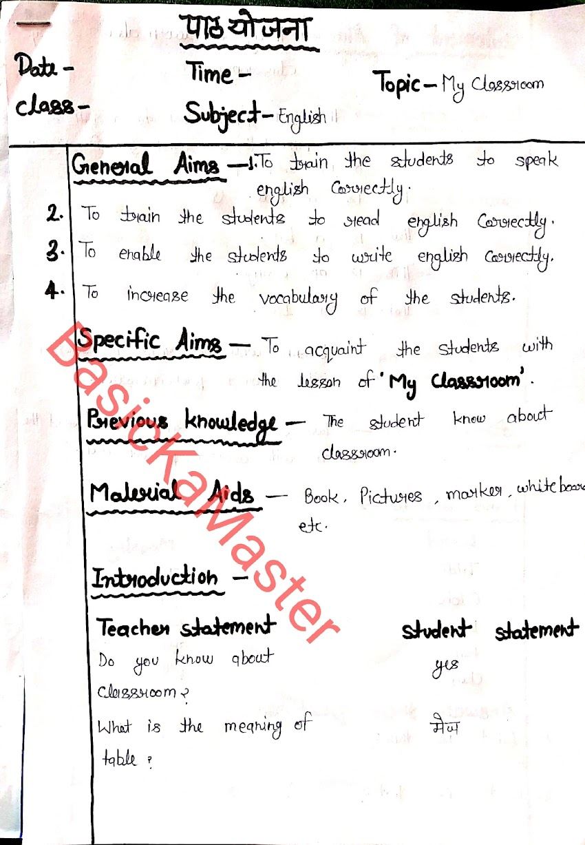 Lesson plan class 3 english for primary teachers and 3rd semester deled students