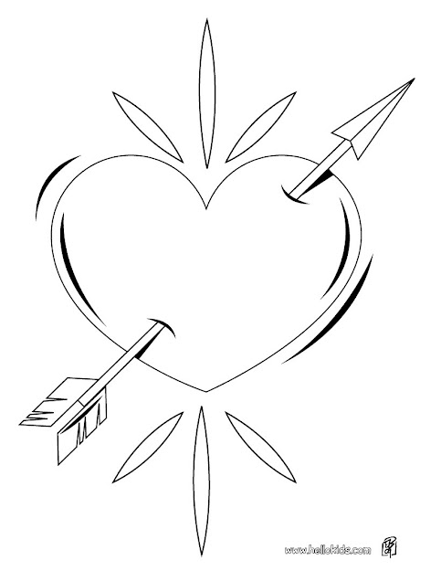Pierced Heart Coloring Pages Hellokids