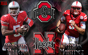 Nebraska Vs Ohio State Gameday Wallpaper Featuring Braxton Miller And Taylor Martinez